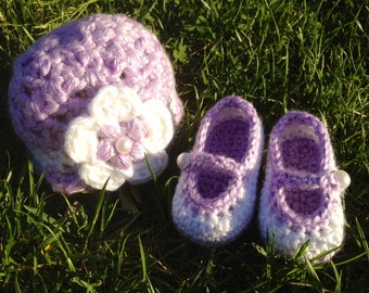 Baby Girl Maryjane Shoes and Beanie Hat-Stylish Purple and White