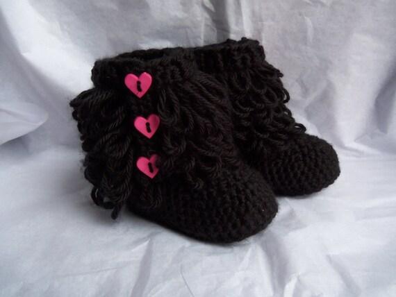 Crochet Baby Booties- Black Furry Boots