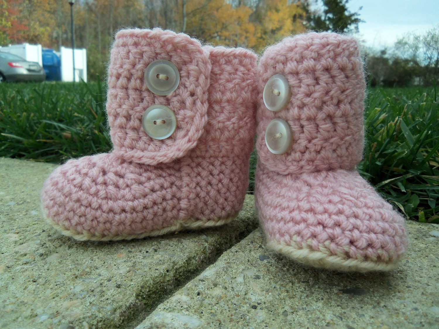 Crochet Pattern For Baby Ugg Booties : Crochet Baby Booties Pink Boots by cmiron on Etsy