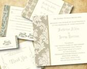 Modern Wedding Invitations Printable, DIY Digital File - Invitation, Save the Date, RSVP, Place and Thank You - Fine Flourish