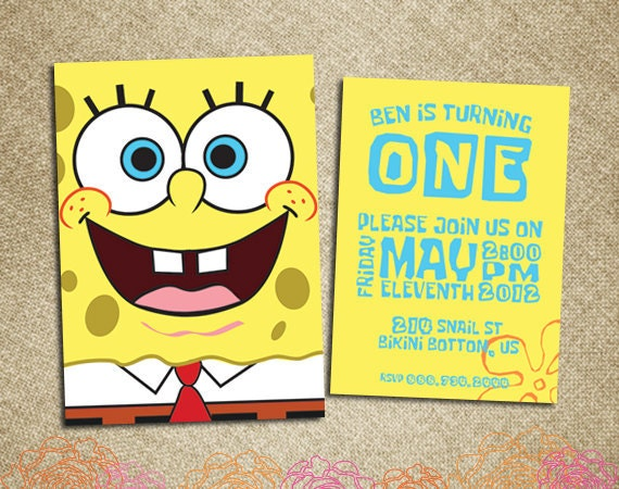 Items similar to Birthday Invitation-- Spongebob ...