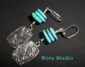 Genuine Turquoise Sterling Silver Earrings with Hand-Made Heart Flower Charms  129E