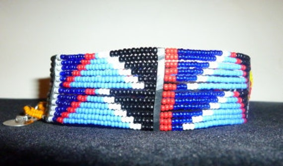 Beaded Maasai choker in hues of blue