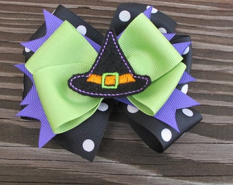 Layered Spike Which Hat Halloween Bow