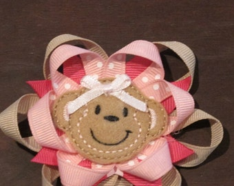 Spiked Layered Machine Embroidered Felt Monkey Hairbow