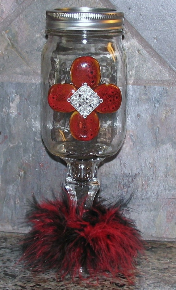 cowgirl cocktail redneck wine glass mason by gypsyraedesigns. Black Bedroom Furniture Sets. Home Design Ideas