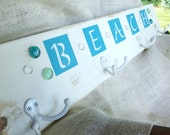 Coat rack, peg rack, beach, shabby chic, farmhouse decor, beachhouse decor, white, turquoise