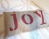 Burlap pillow joy, christmas, holiday, red, pillow, holiday