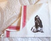Bassett tea towel vintage style, shabby chic, farmhouse style, cotton kitchen towel, red, holiday towel, dog, basset hound, santa hat
