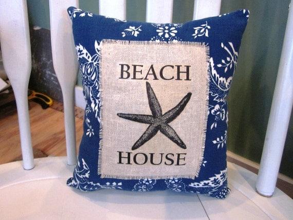 Beach pillow, shabby chic, farmhouse decor, pillow, beach decor, starfish, beach house