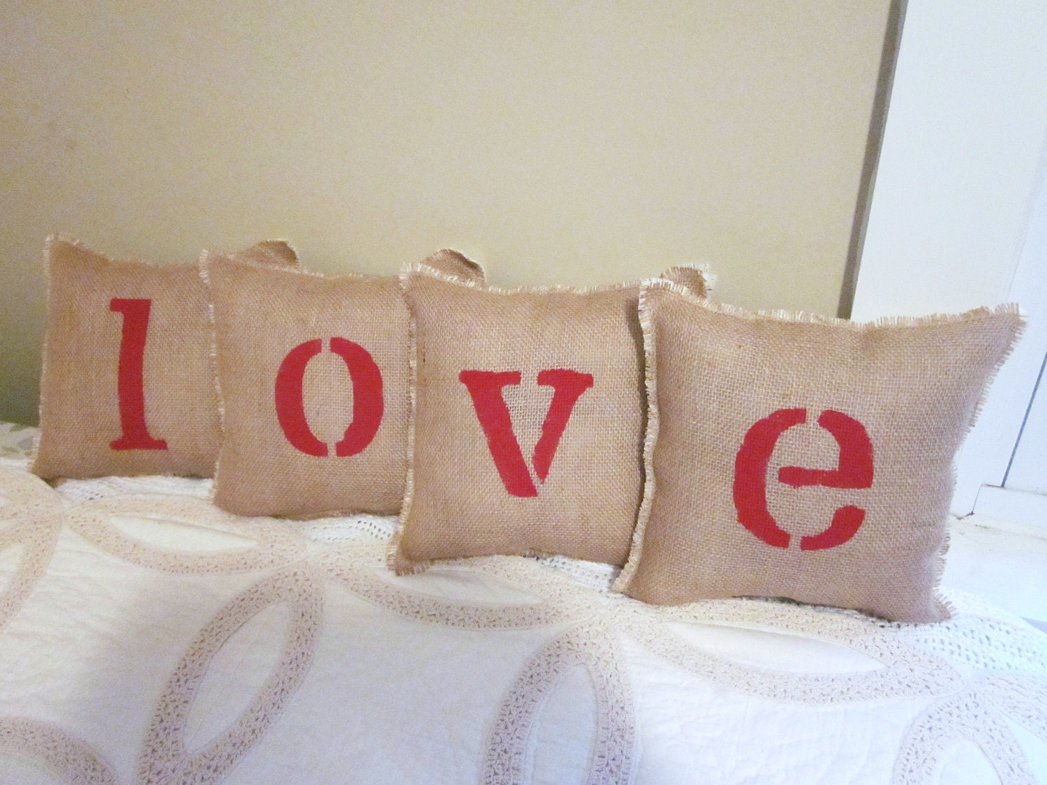 Love pillows valentines day shabby chic by 112FarmhouseLayne