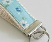 Mini Key Fob  - Floral Aqua Blue and White Daisy - bluebirdluxe