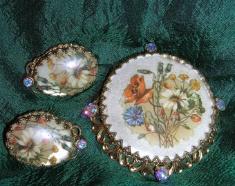 Vintage Floral Bouquet Demi Parure West Germany Earrings Brooch Set Pearlescent Aurora Borealis Rhinestone Filagree