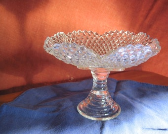 Clear Pressed Glass Compote