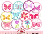 Pretty Butterflies and Flowers 2 inch and 3 inch Circles Round Digital Graphics