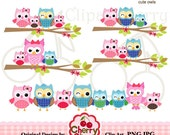 Happy family owls digital clipart set for-Personal and Commercial Use-Card Design, Scrapbooking, and Web Design