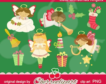 Cute Christmas Angel digital clipart-Personal and Commercial Use - paper crafts, card making, scrapbooking,and Web Design