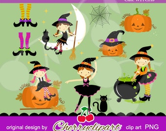 Halloween Cute Witches Digital Clipart--Personal and Commercial Use - paper crafts, card making, scrapbooking