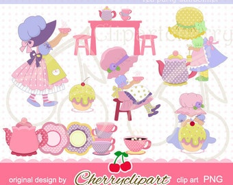 Tea Party Sunbonnet digital clipart-Personal and Commercial Use-paper crafts,card making,scrapbooking