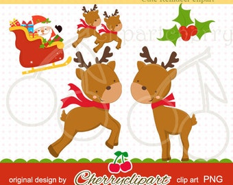 Cute Reindeer Clip Art-Personal and Commercial Use - paper crafts, card making, scrapbooking