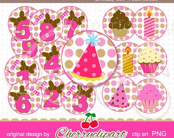 Birthday Girl Polkadot Numbers-4 inch Circls Set for -Personal and Commercial Use - paper crafts, card making, Shirt Design,web design