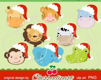 Christmas Jungle Animals digital clipart for-Personal and Commercial Use-paper crafts,card making,scrapbooking