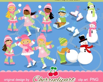 Winter Fun digital clipart for-Personal and Commercial Use-paper crafts,card making,scrapbooking