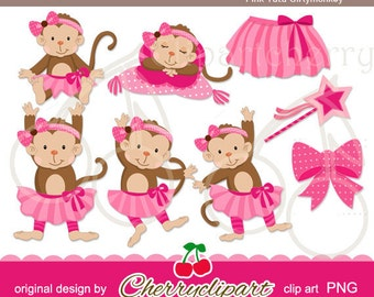 Pink Tutu Girly monkey digital clipart-Personal and Commercial Use-for paper crafts,card making,scrapbooking,and web design
