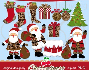 Santa Claus and the Fashionable Leopard Christmas Digital Clipart and Matching Papers