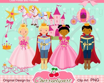 Little Prince and Princess Digital Clipart Set for-Personal and Commercial Use-paper crafts,card making,scrapbooking,web design