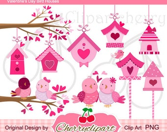 Valentine's Day Birdhouse Digital Clipart Set for-Personal and Commercial Use-paper crafts,card making,scrapbooking,web design