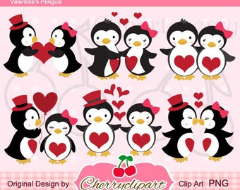 Penguins in the love Digital Clipart Set for-Personal and Commercial Use-paper crafts,card making,scrapbooking,web design