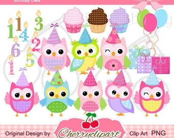 Birthday Owls Digital Clipart Set,Birthday candle numbers 1 through 10  for-Personal and Commercial Use