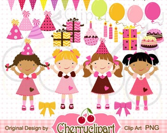 Colorful Birthday Party Girls Digital Clipart Set  for-Personal and Commercial Use- for Card Design, Scrapbooking, and Web Design
