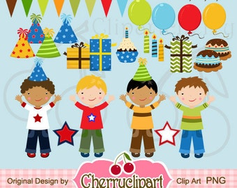 Colorful Birthday Party Boys Digital Clipart Set for-Personal and Commercial Use- for Card Design, Scrapbooking, and Web Design