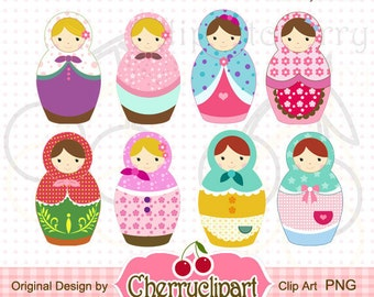 Cute Matryoshka Dolls Digital Clipart Set for-Personal and Commercial Use-paper crafts,card making,scrapbooking