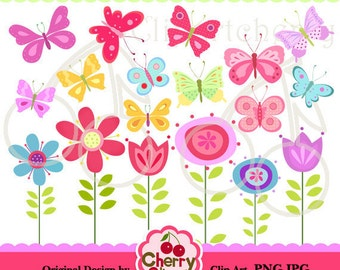 Pretty Butterflies and Flowers Digital Clipart Set for-Personal and Commercial Use-Card Design, Scrapbooking, and Web Design