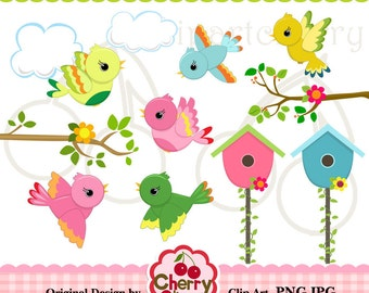 Spring Cute Birds Digital Clipart Set for -Personal and Commercial Use-paper crafts,card making,scrapbooking,web design
