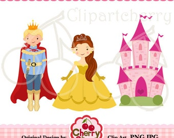 The prince and the princess digital clipart set for -Personal and Commercial Use- for Card Design, Scrapbooking, and Web Design