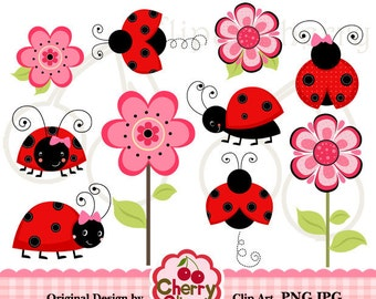 Red and Black Ladybugs Flowers digital clipart set for-Personal and Commercial Use-Card Design, Scrapbooking, and Web Design