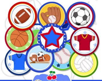 Sports Printable Cupcake Toppers -Bag Tags -2 inch Circles-Birthday-8.5x11 inch Collage Sheet