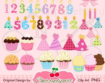 Birthday cupcakes and the number candles clipart set for -Personal and Commercial Use-paper crafts,card making,scrapbooking,web design
