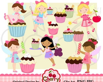 Cupcake fairy digital clipart set for -Personal and Commercial Use-paper crafts,card making,scrapbooking,web design
