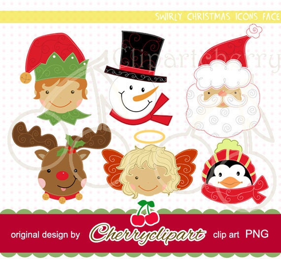 Swirly Christmas Icons Face digital clipart-Personal and Commercial Use-for paper crafts,card making,scrapbooking,and web design