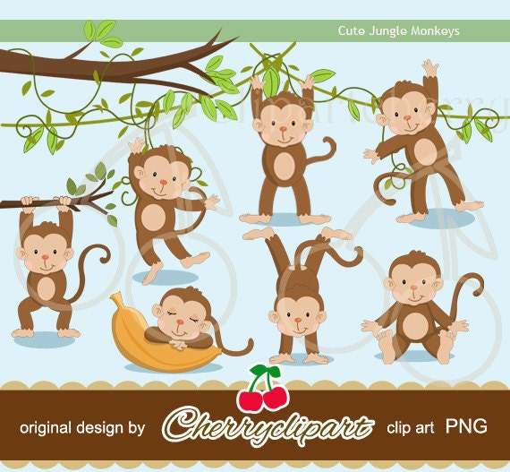 Cute Jungle Monkeys digital clipart for-Personal and Commercial Use-paper crafts,card making,scrapbooking