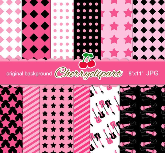 Pink Cool Rock Star Girly Monkey Digital Papers for Card Design, Scrapbooking, and Web Design