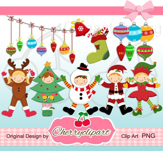 Christmas Happy Kids digital clipart -Personal and Commercial Use - paper crafts, card making, scrapbooking
