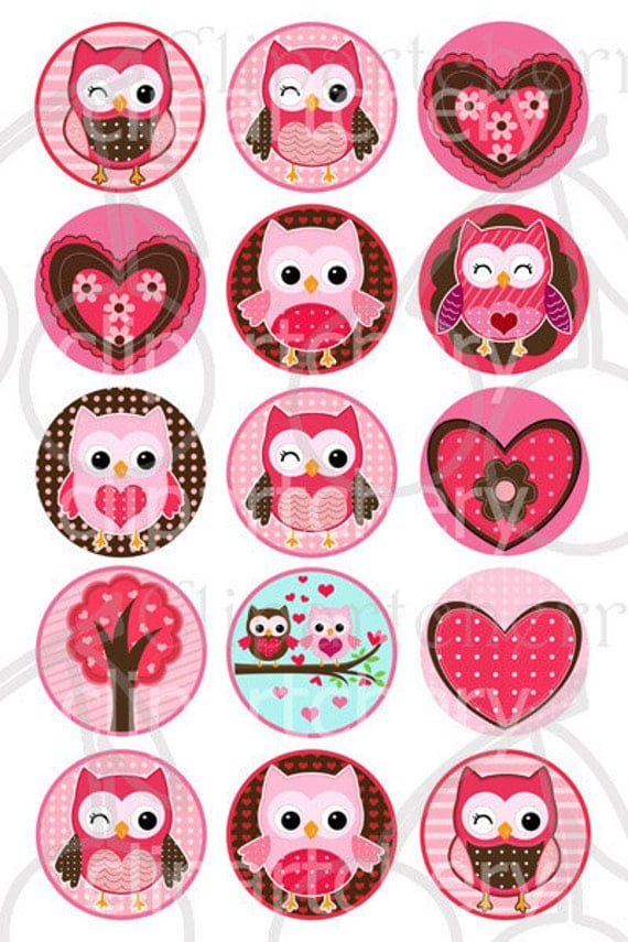 "Valentine Cute Owls 1 Inch  Digital Circles Design 4x6-15 Images- 4""x6"" Sheet"