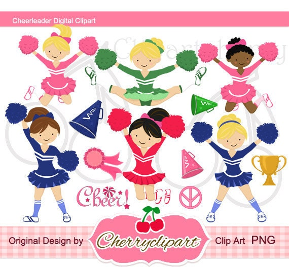 Cheerleader Digital Clipart Set for-Personal and Commercial Use- for Card Design, Scrapbooking, and Web Design