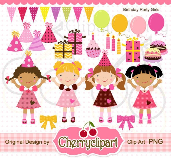 Colorful Birthday Party Girls Digital Clipart Set